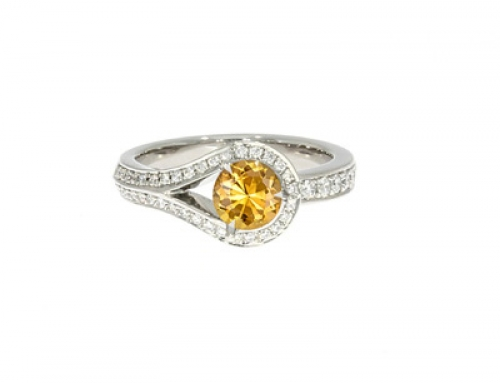 Drop Ring in platinum and Diamonds with Citrine centre
